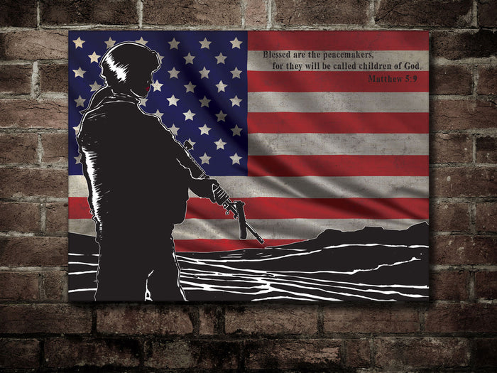 Canvas US Army Soldier US Flag & St Matthew (Lady version)