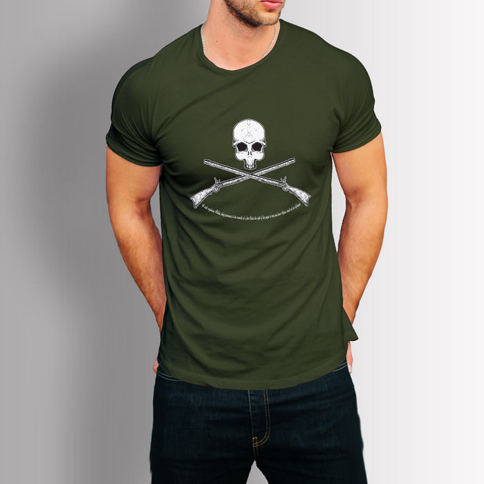 Tshirt Second amendment - Skull & rifles (Military Green)