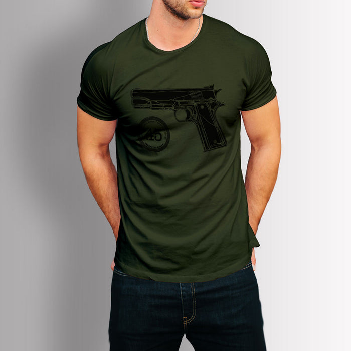 Tshirt US Classics - Colt 45 1911 (Military Green /Black Print)