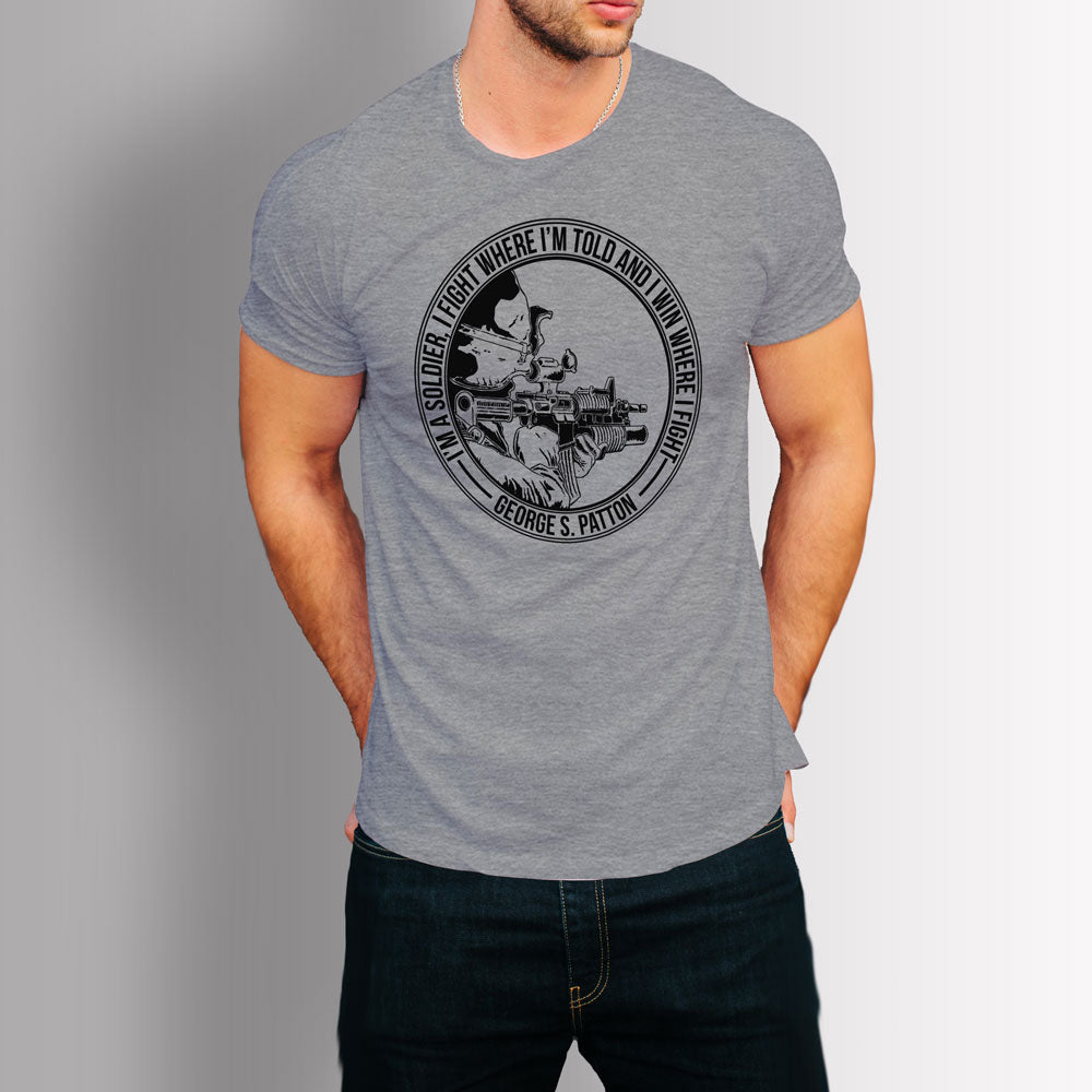 Tshirt US Army Soldier - Patton Quote (Grey)