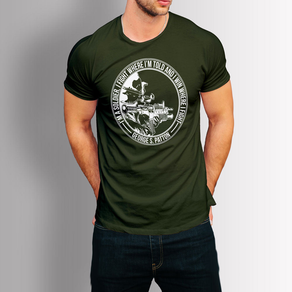 Tshirt US Army Soldier - Patton Quote (Military Green)
