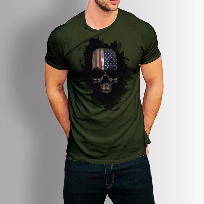 Tshirt US Skull (Military Green)