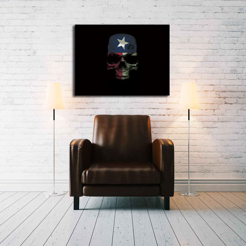 Canvas Skull - Texas Flag