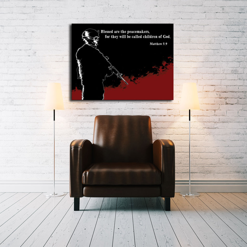 Canvas US Army Soldier Red and Black