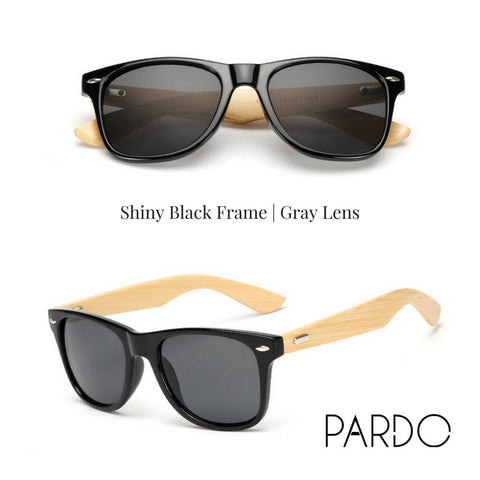Shiny Black Frame | Gray Lens Bamboo Sunglasses