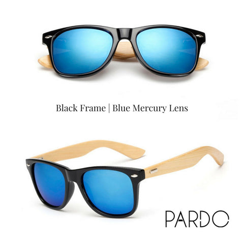 Black Frame | Blue Mercury Lens Bamboo Sunglasses