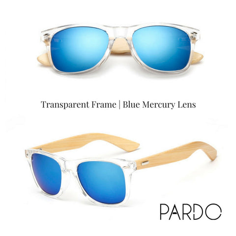 Transparent Frame | Blue Mercury Lens Bamboo Sunglasses