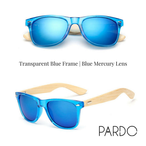 Transparent Blue Frame | Blue Mercury Lens Bamboo Sunglasses