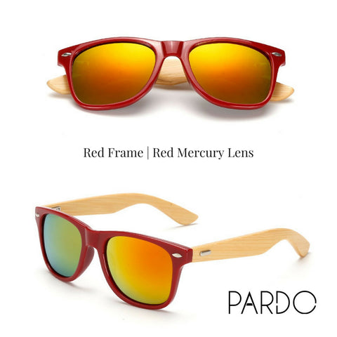 Red Frame | Red Mercury Lens Bamboo Sunglasses