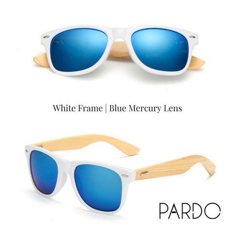 White Frame | Blue Mercury Lens Bamboo Sunglasses