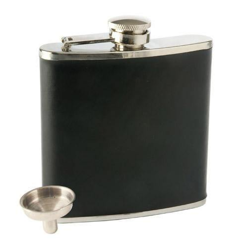 Black Faux Leather Flask - Flask
