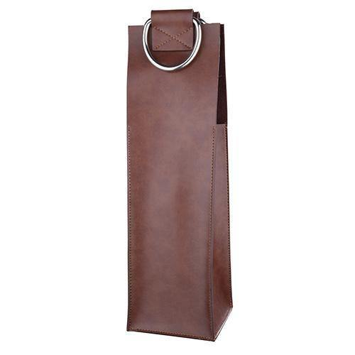 Brown Faux Leather Tote - Wine Accessories