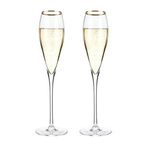 Gold Rimmed Crystal Champagne Flutes (Set Of 2) - Champagne
