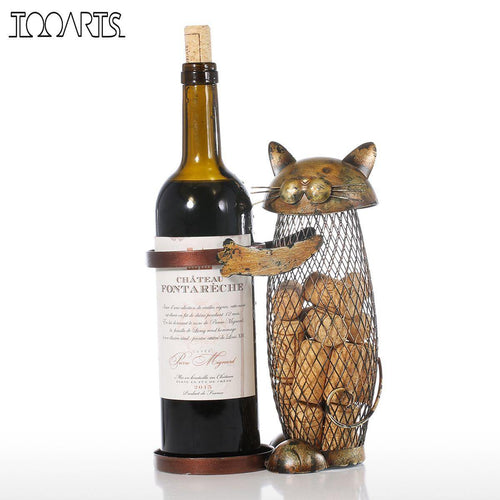 Cork Container and Bottle Holder- Cat