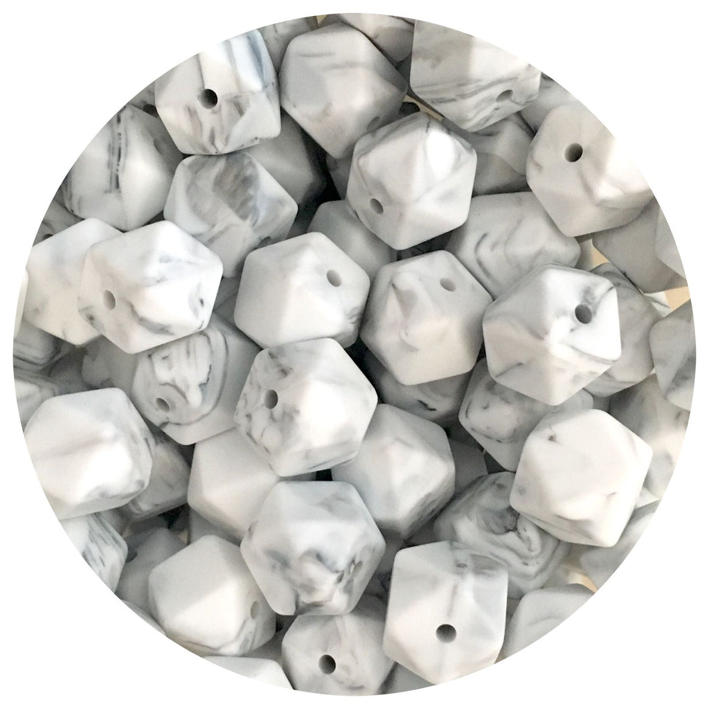 Grey Marble - 14mm Mini Hexagon - 10pack