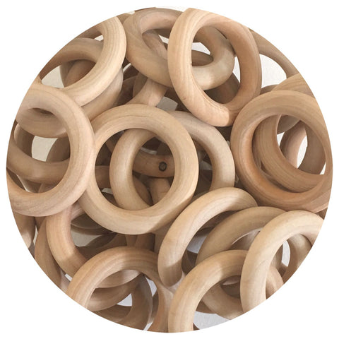 Natural Wood Rings - 55mm - 10/30/50pack