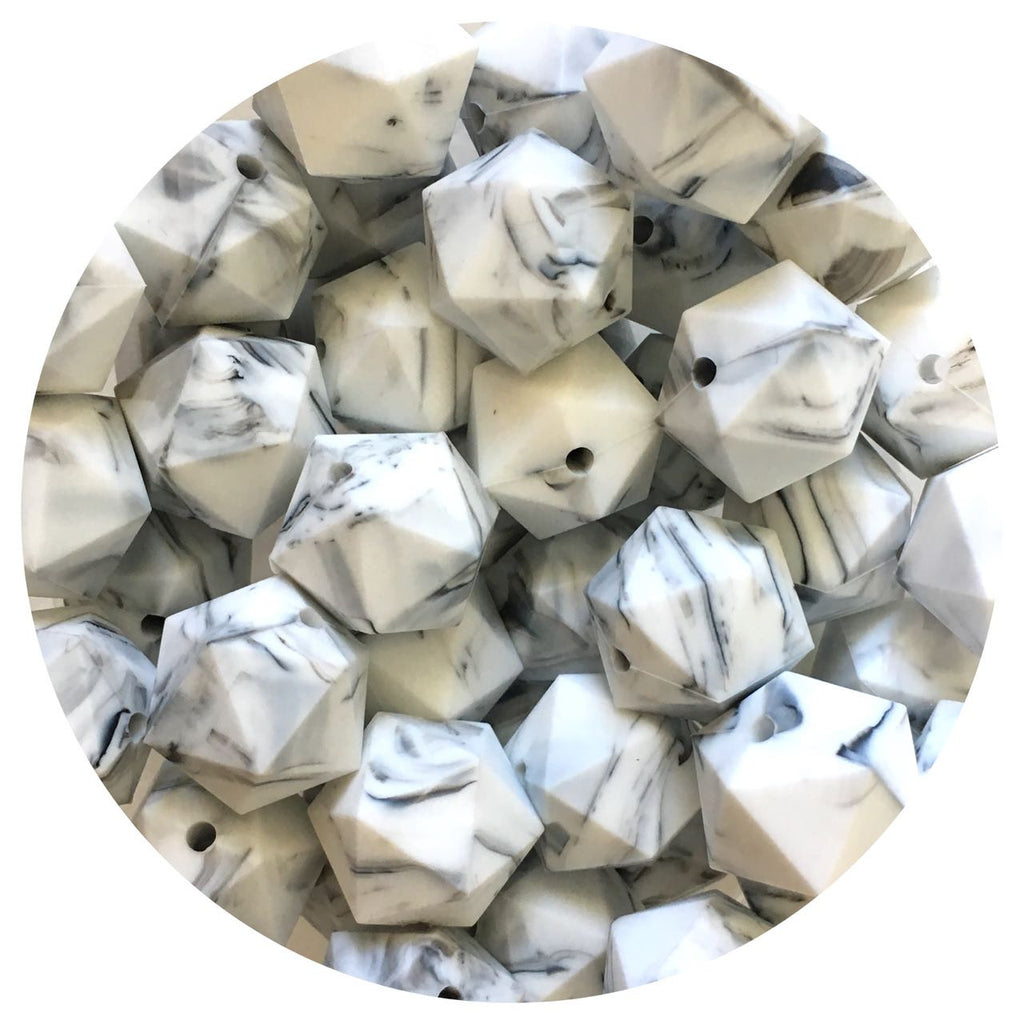 Grey Marble - 17mm Icosahedron - 10/25pack
