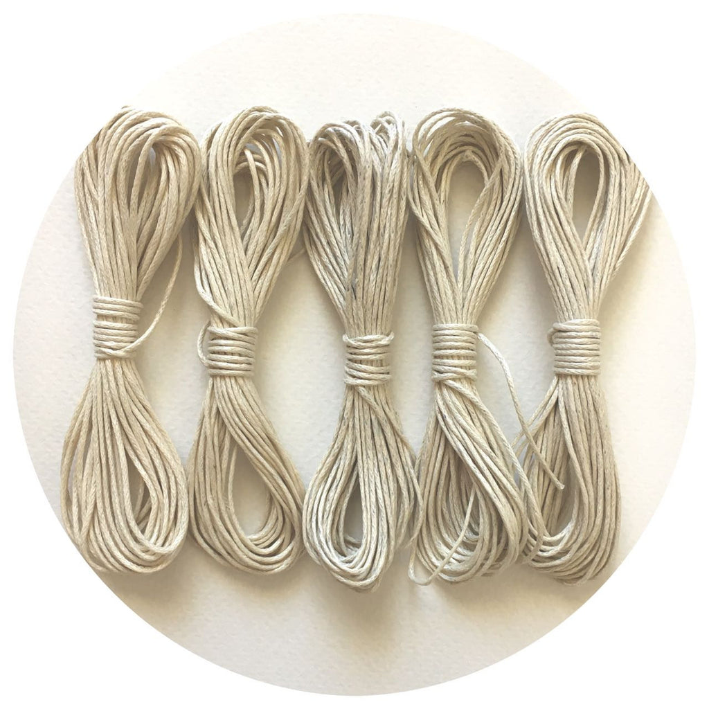 Natural - 1.5mm Waxed Twisted Cotton Cord