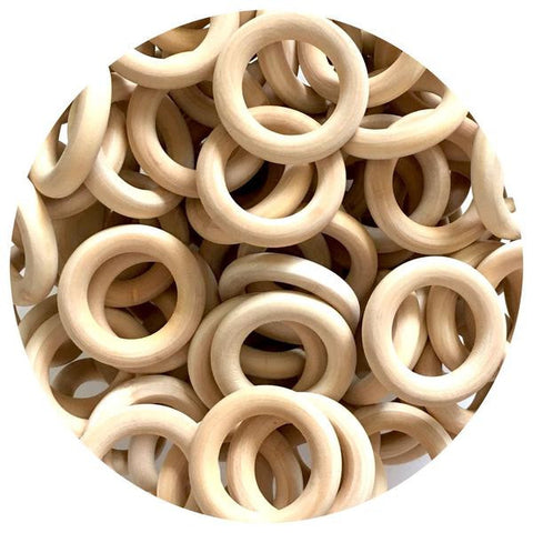 Natural Wood Rings - 40mm - 10/30/50pack