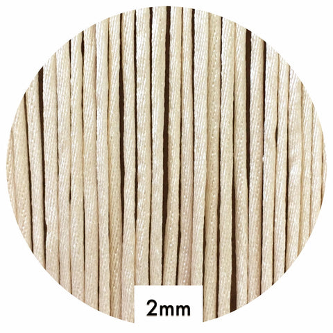 Beige - 2mm Satin Nylon Cord - 10m