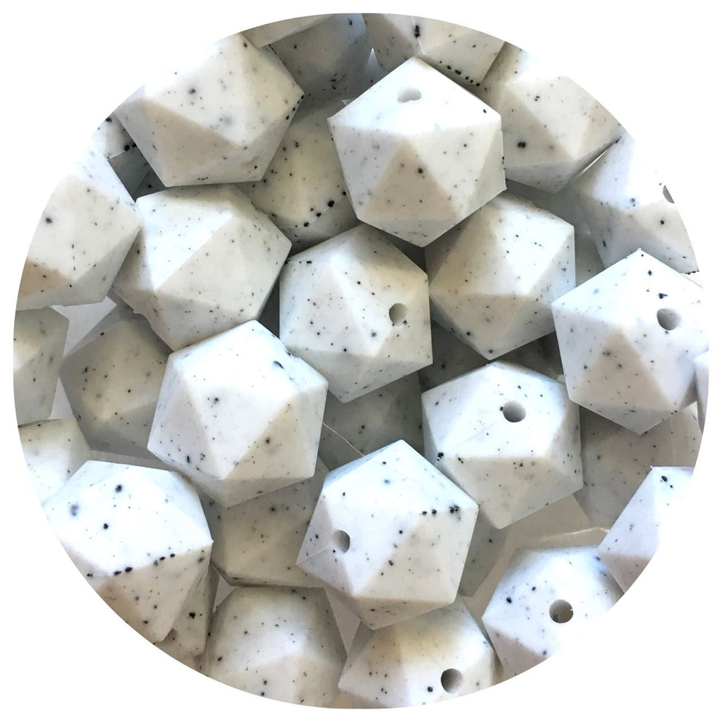 White Speckled - 17mm Icosahedron - 10/25pack