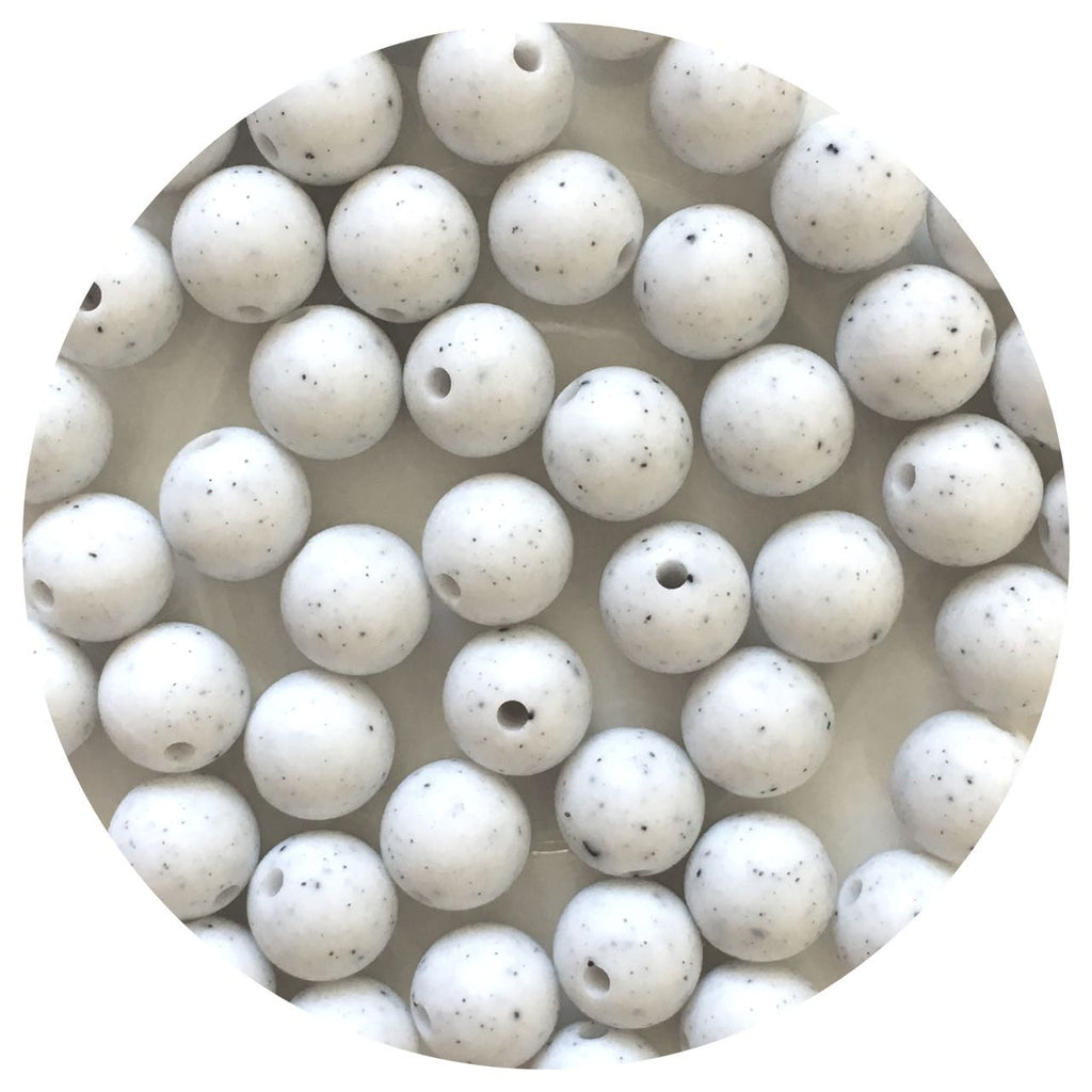 White Speckled - 12mm Round - 10/20/50pack