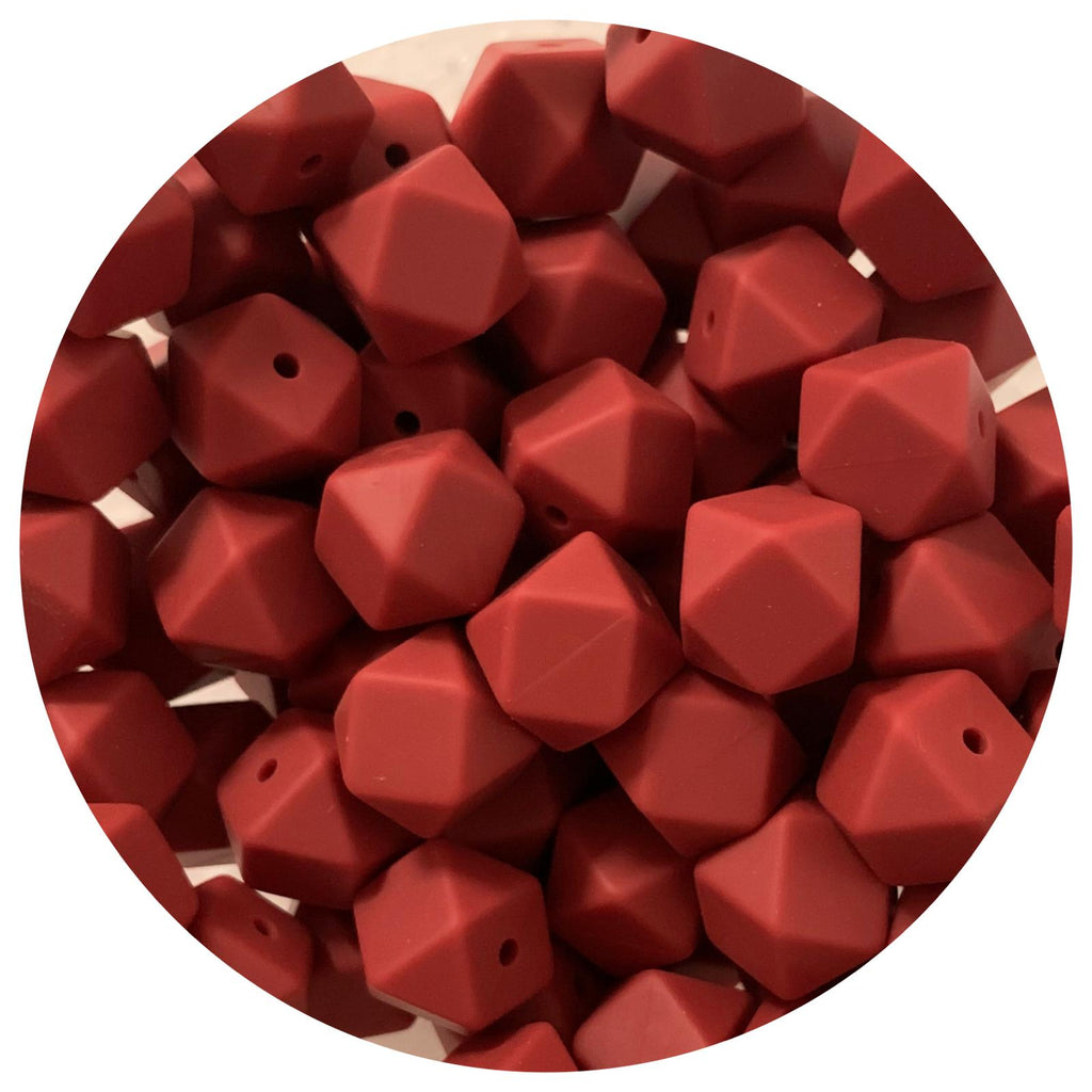 Burgundy Red - 14mm Mini Hexagon - 10/25pack