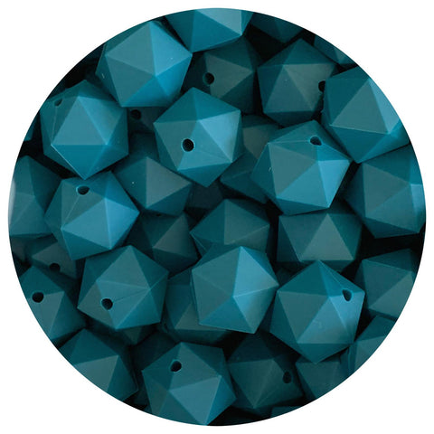 Deep Teal - 17mm Icosahedron - 10/25pack