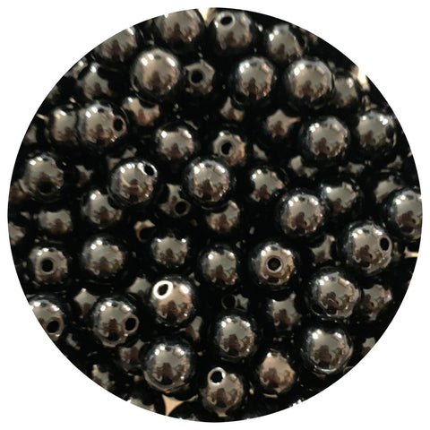12mm Black Acrylic Beads - 10pack