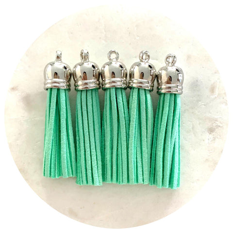 55mm Suede Tassels Silver Cap - Mint Green - 5pack