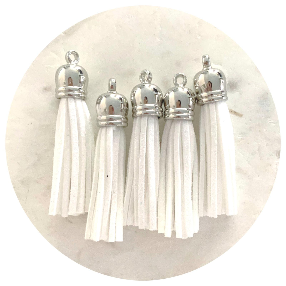 55mm Suede Tassels with Silver Cap DIY Jewelry
