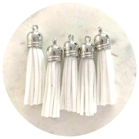55mm Suede Tassels Silver Cap - Snow White - 5pack