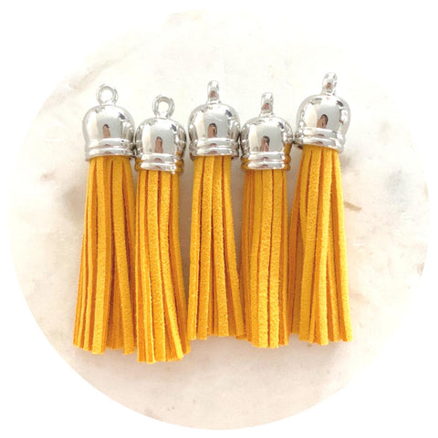 55mm Suede Tassels Silver Cap - Mustard Yellow - 5pack