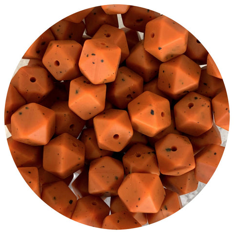Tan Speckled - 14mm Mini Hexagon - 10/25pack