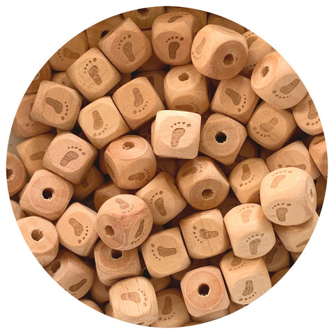 Natural Wood Engraved Cube Beads (Baby Feet) - 12mm - 10pack