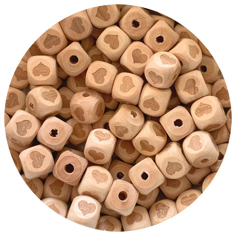Natural Wood Engraved Cube Beads (Heart) - 12mm - 10pack