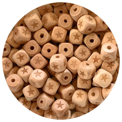 Natural Wood Engraved Cube Beads (Star) - 12mm - 10pack