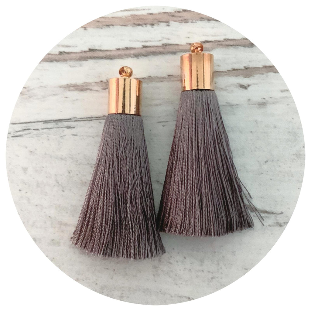 50mm Silk Tassels - Gold Cap - Dark Grey - 2pack - L9506