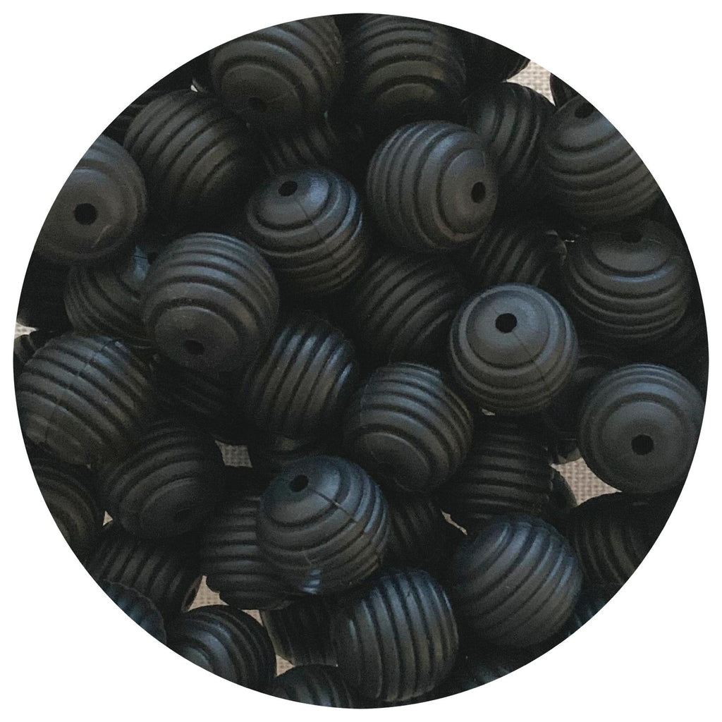 Jet Black - 15mm round Beehive - 10pack