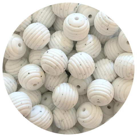 White Speckled - 15mm round Beehive - 10pack
