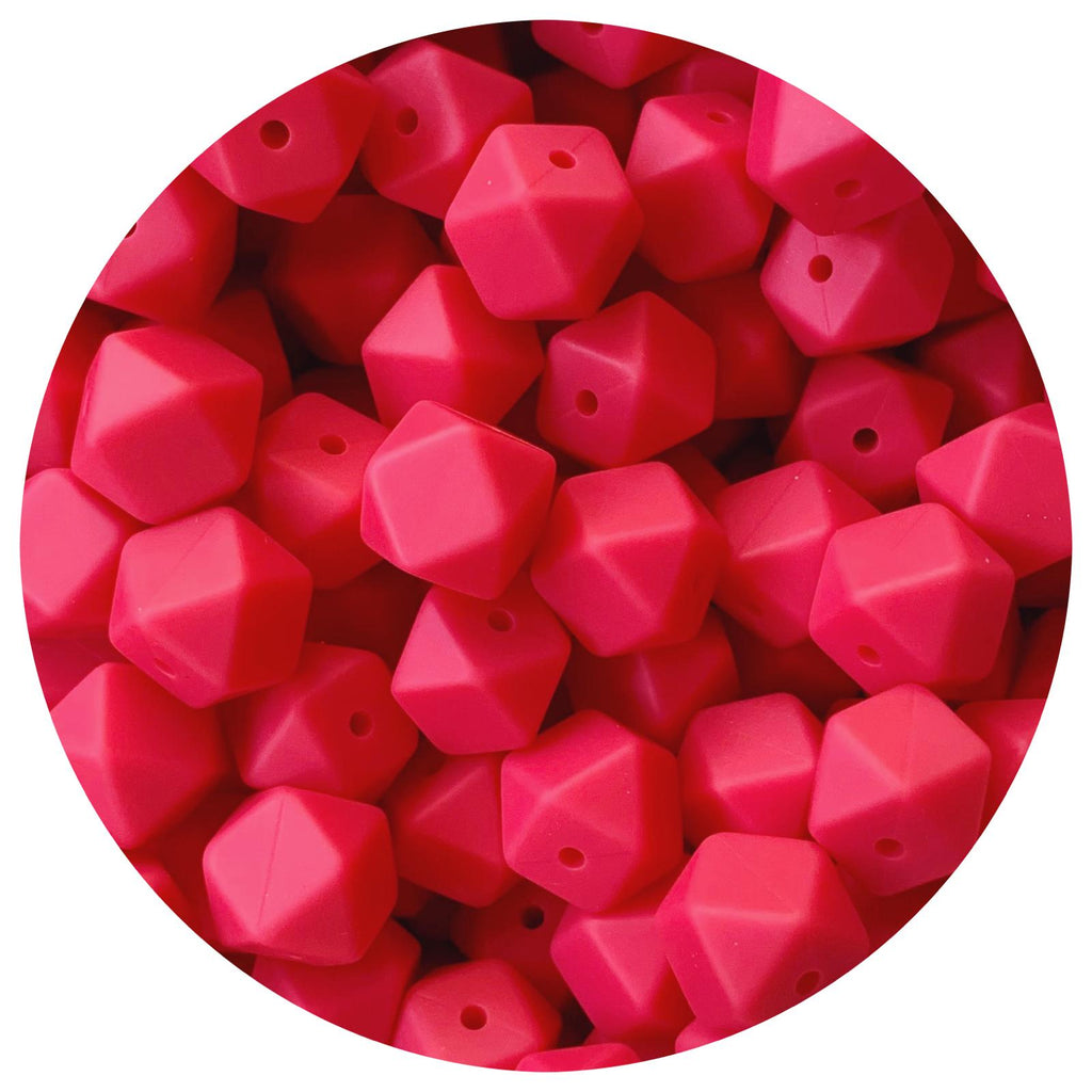 Raspberry - 14mm Mini Hexagon - 10pack