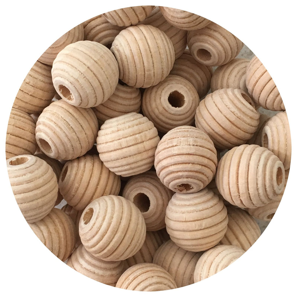 Natural Wood Textured Beehive Beads - 20mm - 10/30/50pack