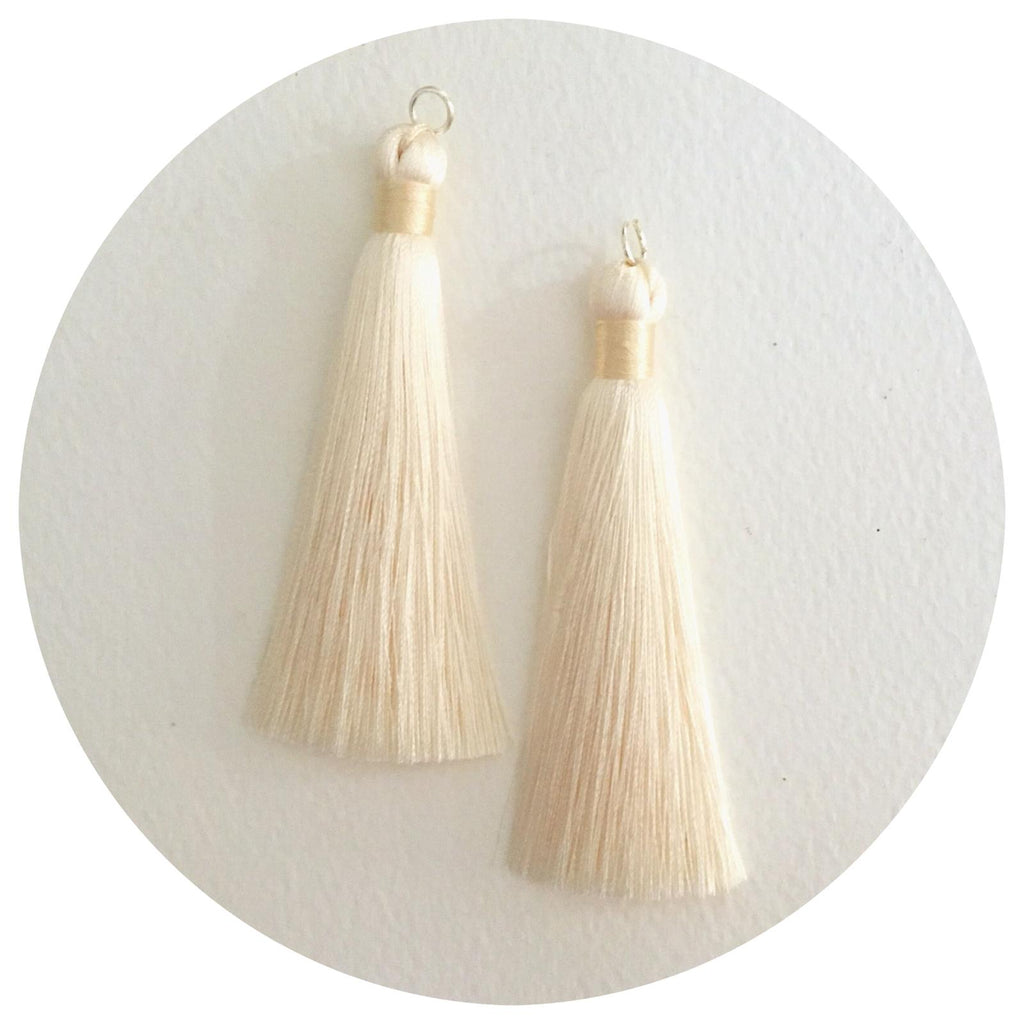 80mm Silk Tassels - Cream - 2pack
