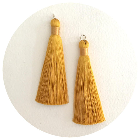 80mm Silk Tassels - Mustard Yellow - 2pack