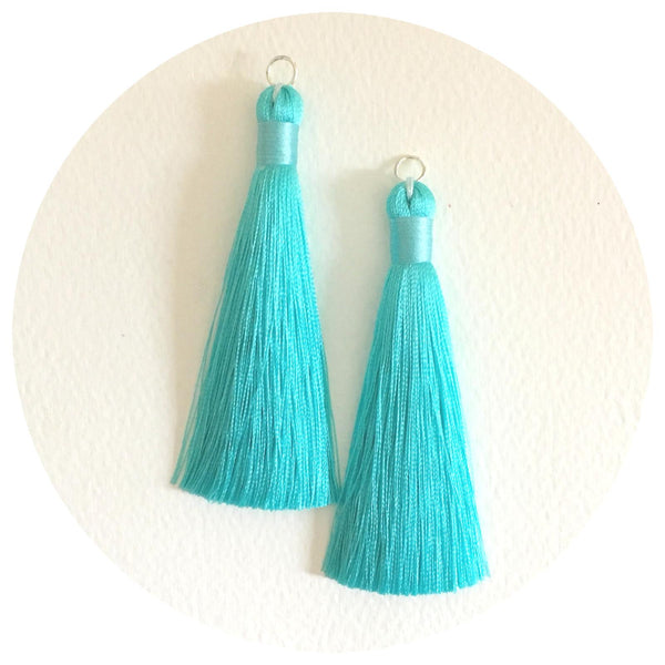80mm Silk Tassels - Aqua - 2pack