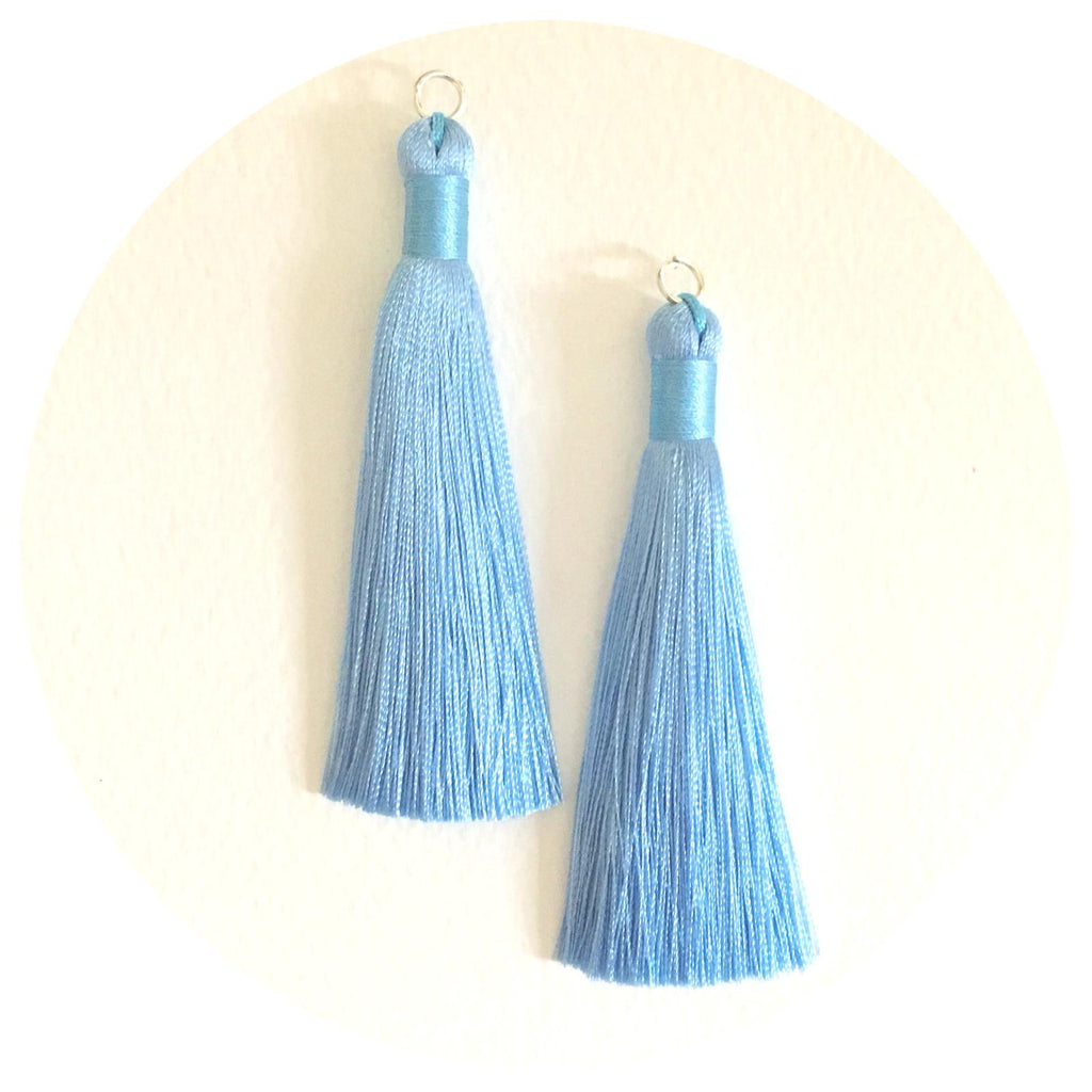 80mm Silk Tassels - Pastel Blue - 2pack