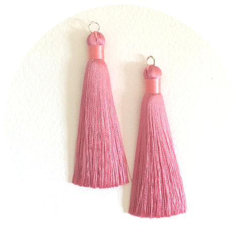 80mm Silk Tassels - Dusty Rose Pink - 2pack