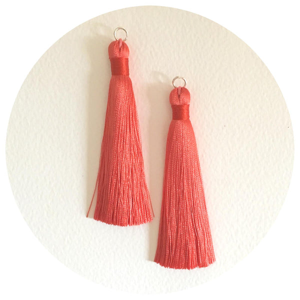80mm Silk Tassels - Coral - 2pack