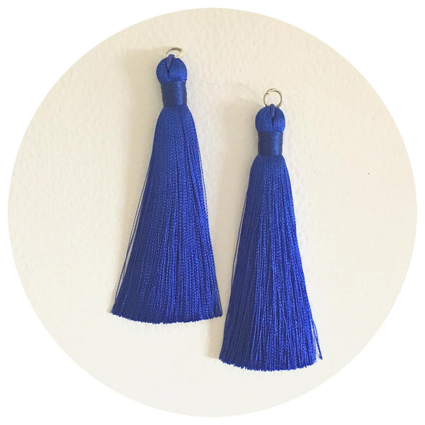 80mm Silk Tassels - Royal Blue - 2pack