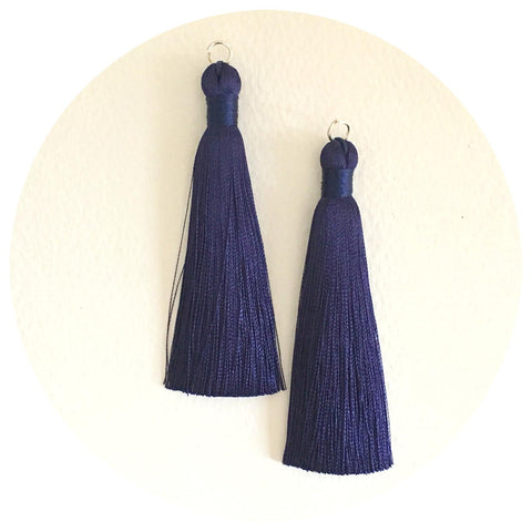 80mm Silk Tassels - Navy Blue - 2pack
